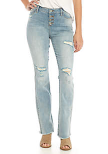 Mid-Rise Bootcut Exposed Button Jeans