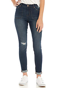 Mid-Rise Skinny Jeans with Porkchop Pockets