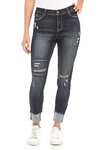 TRUE CRAFT Mid Rise Skinny Ankle Cuff Jeans