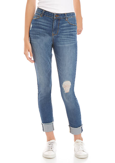Mid Rise Skinny Ankle Cuff Jeans
