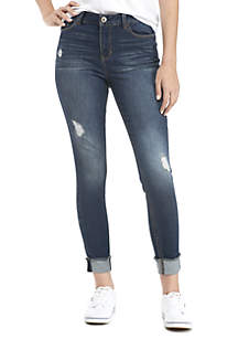 Destructed Midrise Skinny Jeans