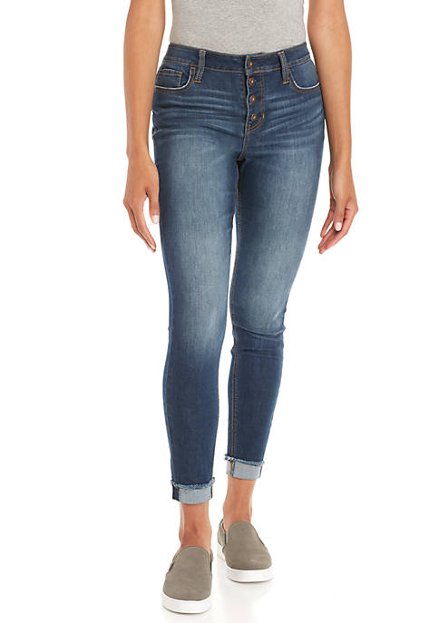 TRUE CRAFT Exposed Button Skinny Jean