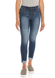 Exposed Button Skinny Jean