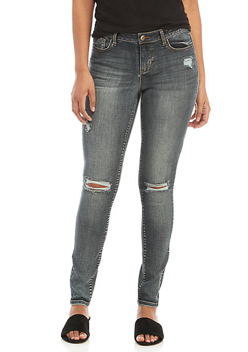 TRUE CRAFT Low Rise Destructed Skinny Jeans