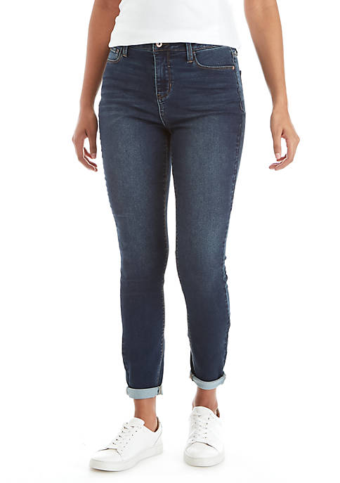 High Rise Single Button Jeans