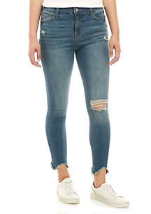 TRUE CRAFT Mid Rise Skinny Ankle Chew Hem Jeans
