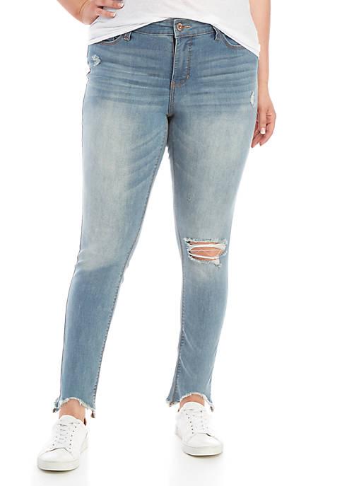 Plus Size Midrise Ankle Chew Hem Jeans