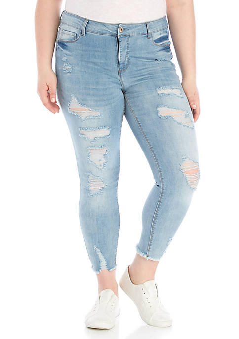 Plus Size Mid Rise Skinny Ankle Jeans