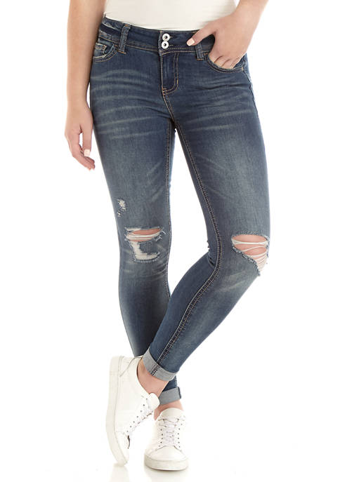 TRUE CRAFT Double Button Low Rise Ankle Jeans