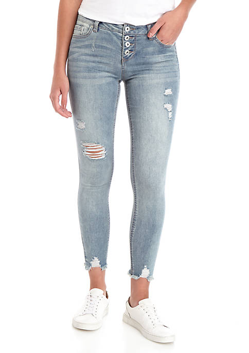 TRUE CRAFT Exposed Button Low Rise Ankle Jeans