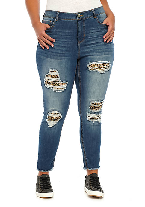 Plus Size Midrise Skinny Ankle Backed Jeans