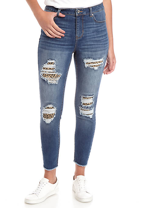 TRUE CRAFT Mid Rise Skinny Ankle Animal Jeans