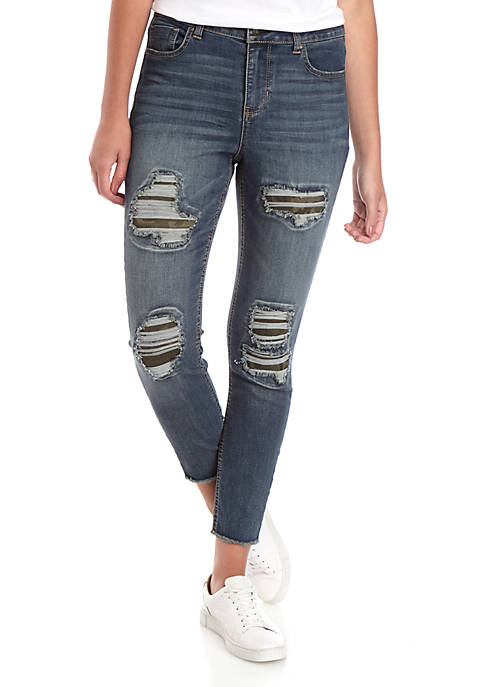 Mid Rise Skinny Ankle Camouflage Jeans