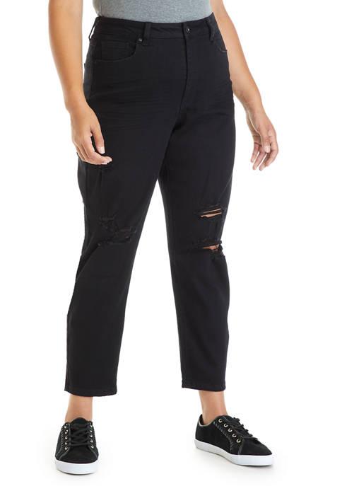 TRUE CRAFT Plus Size Black Mom Jeans