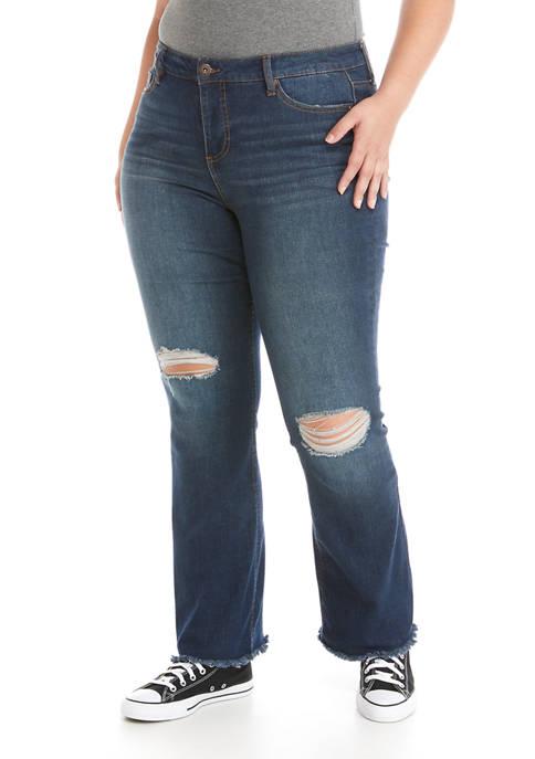 Plus Size Mid Rise Slim Flare Jeans