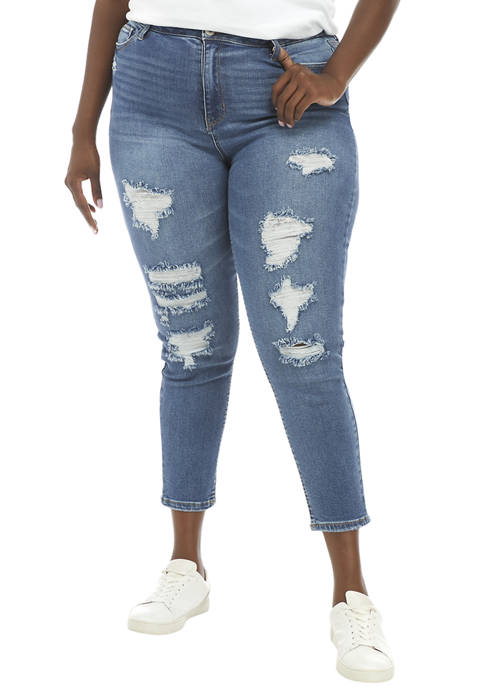 Plus Size High Rise Destructed Ankle Length Skinny Jeans