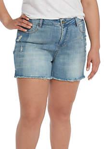 Plus Size Two-Tone Fray Hem Shorts