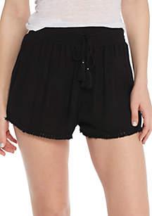 Rayon Gauze Smocked Waist Shorts