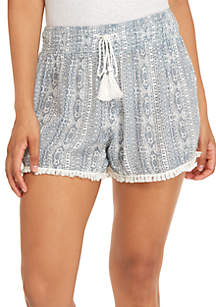 Printed Crinkle Shorts