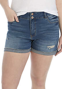 TRUE CRAFT Plus Size Double Button Cuffed Jean Shorts
