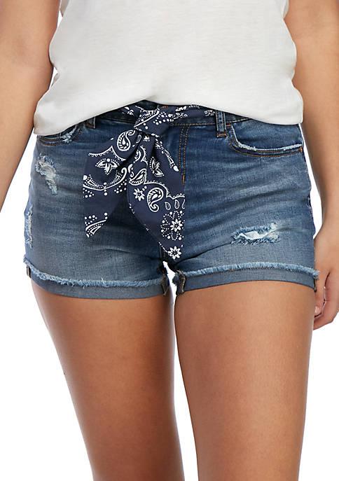 TRUE CRAFT Midrise Bandanna Belt Jean Shorts
