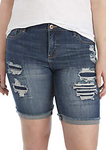 TRUE CRAFT Plus Size Rip and Repair Bermuda Shorts