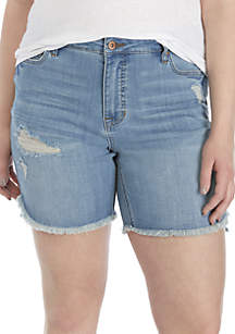 TRUE CRAFT Plus Size Slant Hem Bermuda Shorts