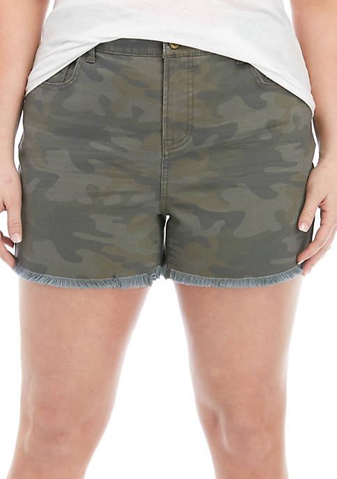 Plus Size Highrise Denim Shorts