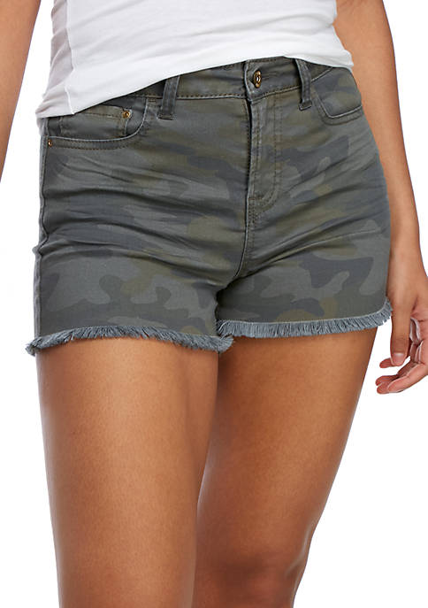 TRUE CRAFT High Rise Raw Edge Camo Shorts