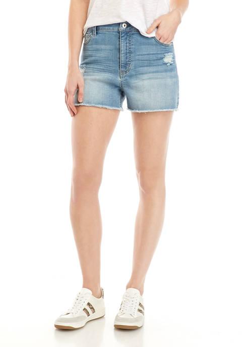 TRUE CRAFT Juniors High RIse Raw Hem Shorts