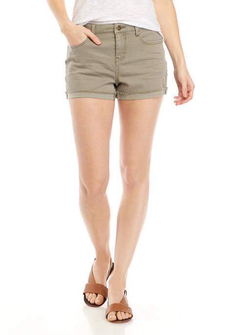 Juniors Mid Rise Cuff Shorts