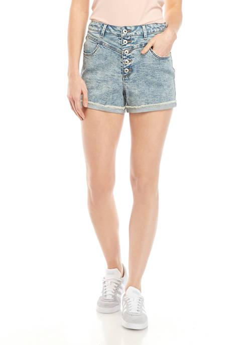 TRUE CRAFT Juniors Button Mom Shorts
