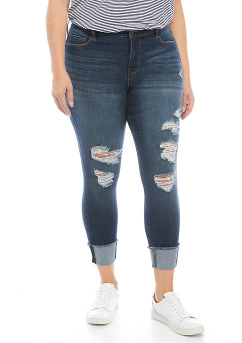 TRUE CRAFT Plus Size Destructed Cuff Crop Jeans