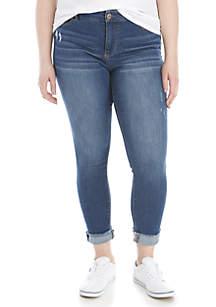 TRUE CRAFT Plus Size Cuffed Crop Jeans