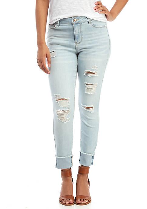 TRUE CRAFT Andre Cuffed Crop Destructed Jeans