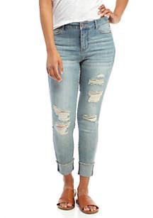 Reggie Cuffed Crop Destructed Jeans