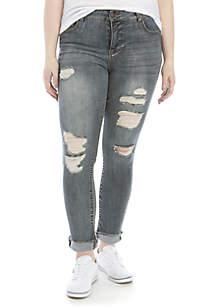 TRUE CRAFT Plus Size Cuffed Cropped Jeans