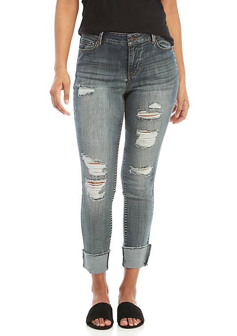 TRUE CRAFT Bruno Cuffed Crop Destructed Jeans