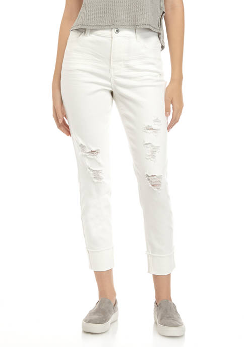 TRUE CRAFT Juniors Destructed Cuff Crop jeans