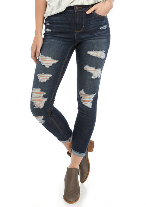 Destructed Cuff Crop Jeans