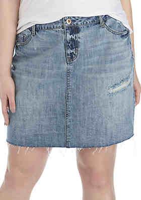 a4c62cbd1 TRUE CRAFT Plus Size Denim Skirt ...