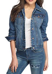 Basic Denim Jacket With Abrasion