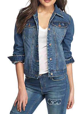249f20acf22958 TRUE CRAFT Basic Denim Jacket With Abrasion ...