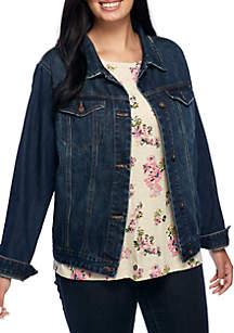 Plus Size Basic Denim Jacket