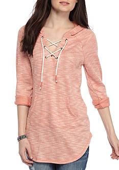 Inspired Hearts Marled Lace Up Pull Over
