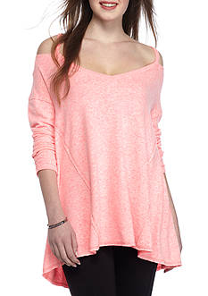 Inspired Hearts Cold Shoulder Hacci Top