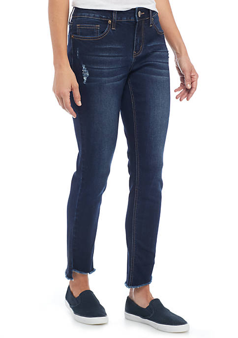 Skinny Frayed Asymmetrical Hem Denim Jean