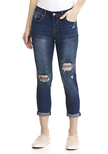 Colorful Knee Patch Girlfriend Jeans