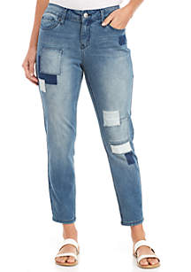 Multi-Patch Straight Skinny Jeans
