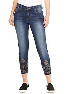 Stud Embellished Cropped Jeans